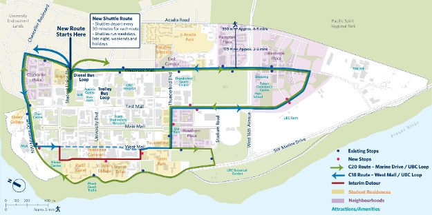 UBC New Shuttle Route C18 and C20 Map