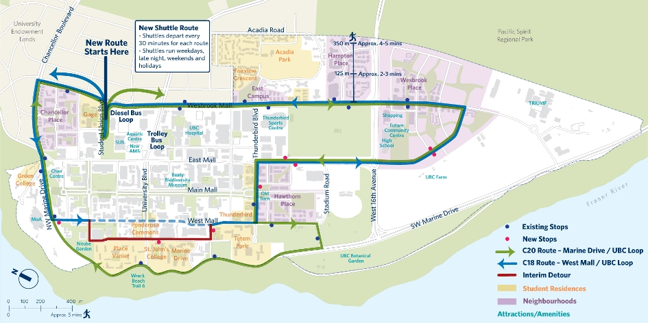 UBC Campus Shuttle Route Map C18 and C20